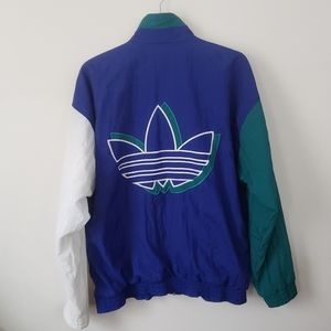Vintage adidas big trefoil logo windbreaker jacket